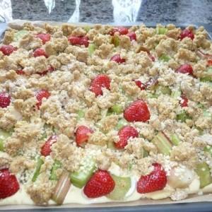 Rhabarber quark kuchen mit streuseln